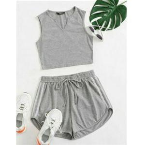 NWOT Light Grey Tank Top &  Shorts Set